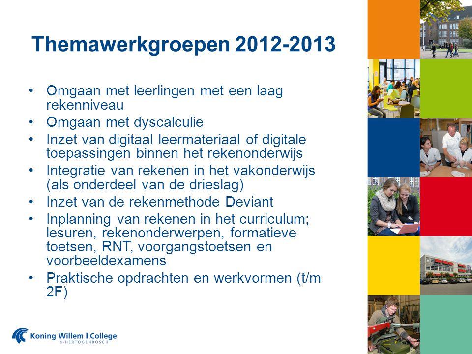 Themawerkgroepen 2012-2013 Omgaan met leerlingen met een laag rekenniveau Omgaan met dyscalculie Inzet van digitaal leermateriaal of digitale toepassi
