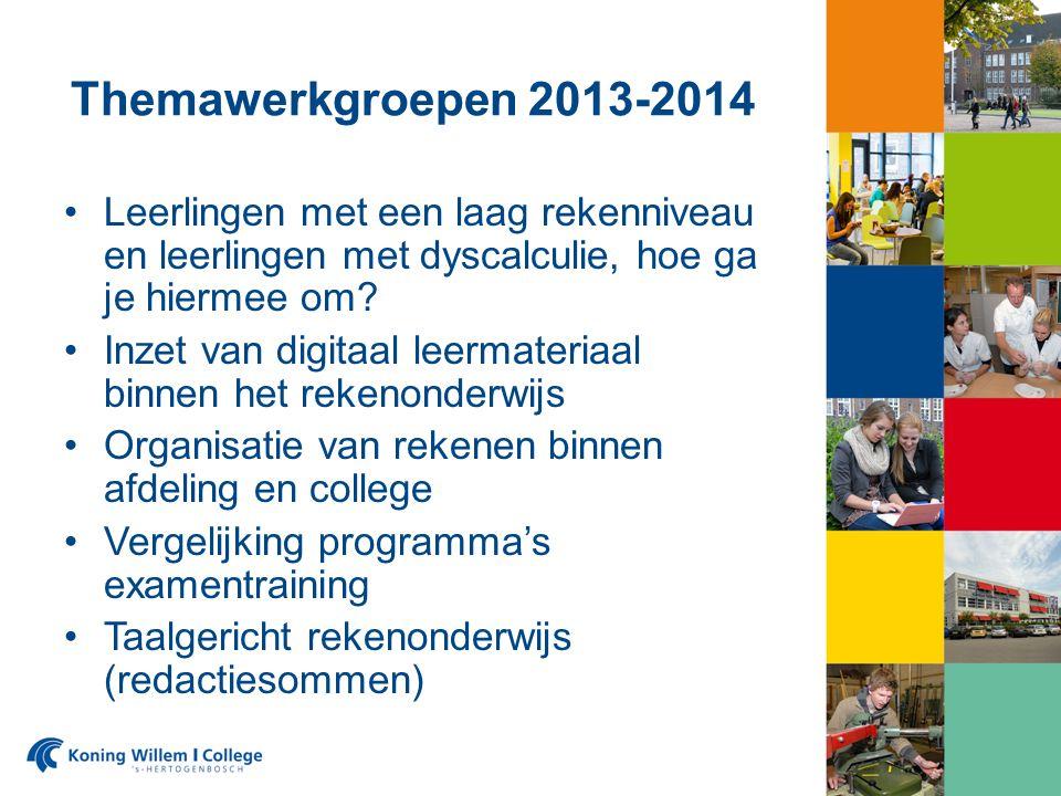 Themawerkgroepen 2013-2014 Leerlingen met een laag rekenniveau en leerlingen met dyscalculie, hoe ga je hiermee om.