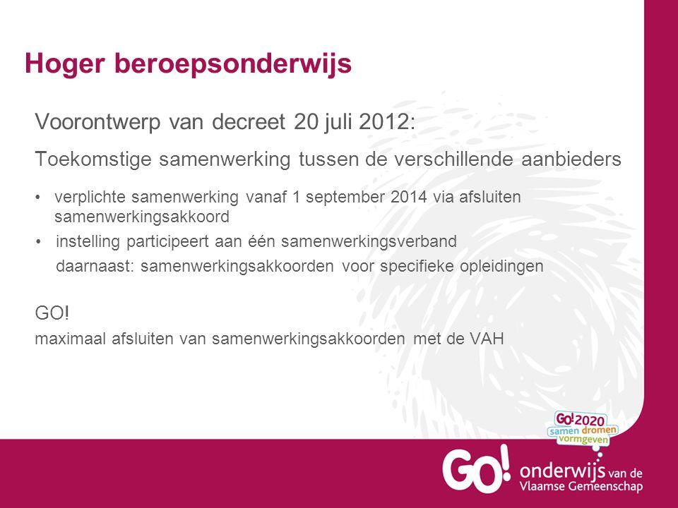 Hoger beroepsonderwijs Voorontwerp van decreet 20 juli 2012: Toekomstige samenwerking tussen de verschillende aanbieders verplichte samenwerking vanaf