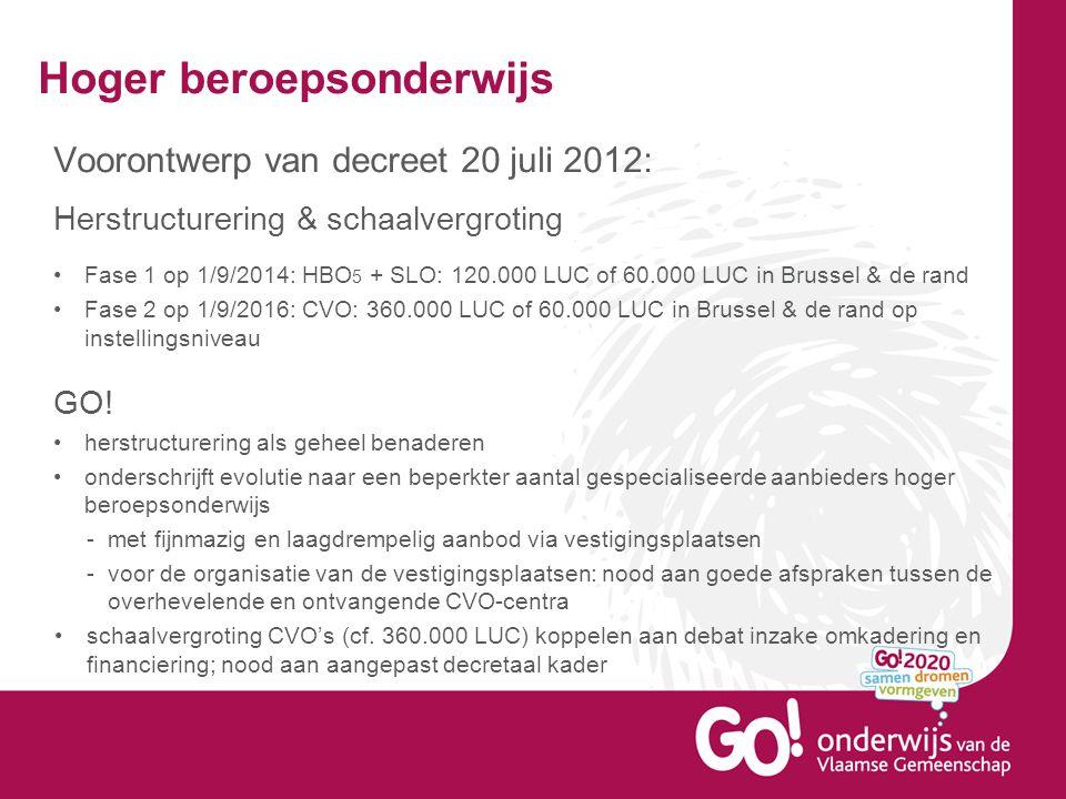 Hoger beroepsonderwijs Voorontwerp van decreet 20 juli 2012: Herstructurering & schaalvergroting Fase 1 op 1/9/2014: HBO 5 + SLO: 120.000 LUC of 60.00