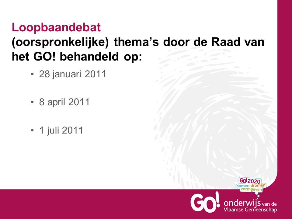 Loopbaandebat (oorspronkelijke) thema's door de Raad van het GO! behandeld op: 28 januari 2011 8 april 2011 1 juli 2011
