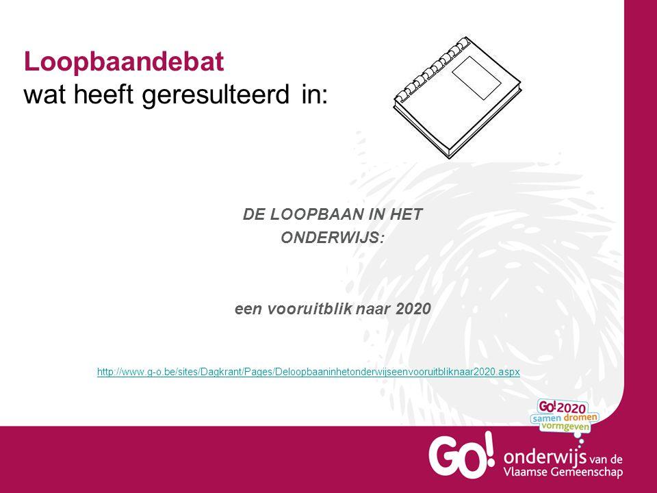 Loopbaandebat wat heeft geresulteerd in: http://www.g-o.be/sites/Dagkrant/Pages/Deloopbaaninhetonderwijseenvooruitbliknaar2020.aspx DE LOOPBAAN IN HET ONDERWIJS: een vooruitblik naar 2020