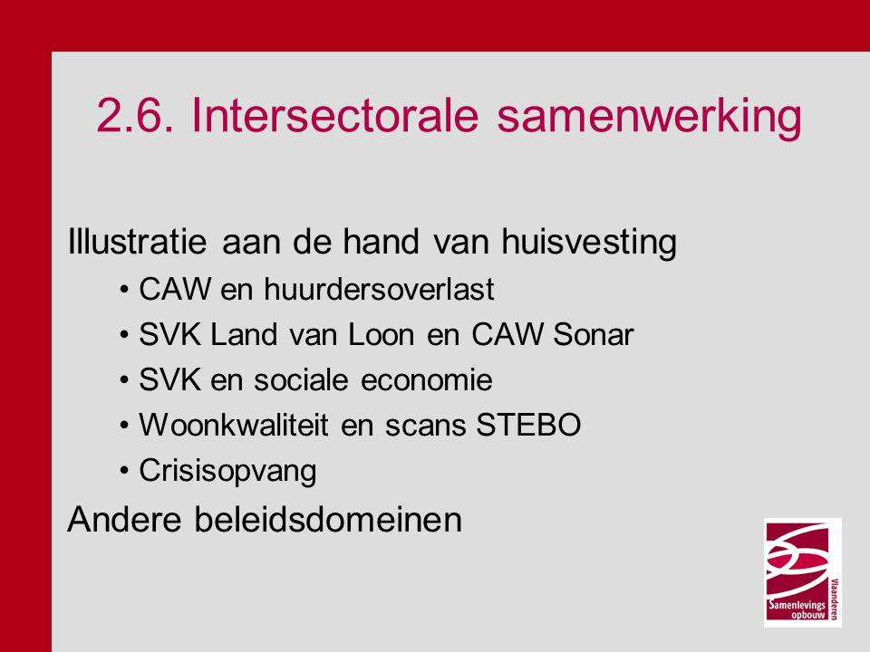 2.6. Intersectorale samenwerking Illustratie aan de hand van huisvesting CAW en huurdersoverlast SVK Land van Loon en CAW Sonar SVK en sociale economi