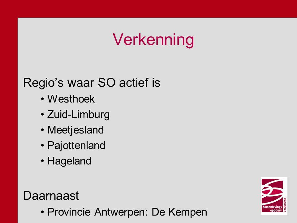 Verkenning Regio's waar SO actief is Westhoek Zuid-Limburg Meetjesland Pajottenland Hageland Daarnaast Provincie Antwerpen: De Kempen