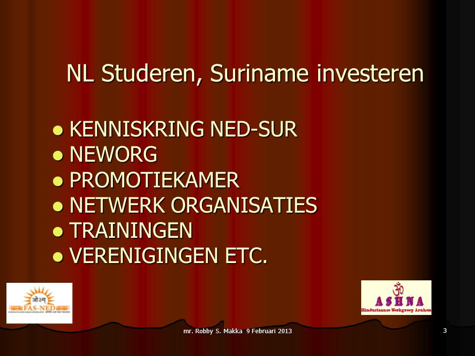 NL Studeren, Suriname investeren KENNISKRING NED-SUR KENNISKRING NED-SUR NEWORG NEWORG PROMOTIEKAMER PROMOTIEKAMER NETWERK ORGANISATIES NETWERK ORGANI