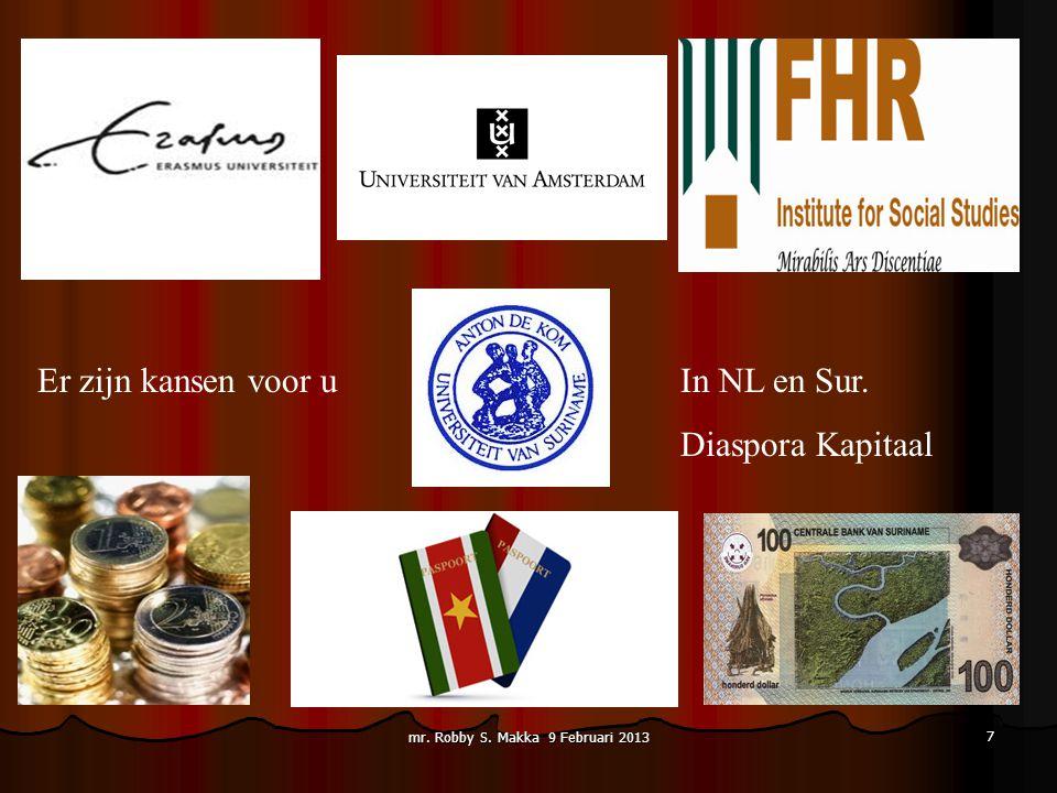 Er zijn kansen voor uIn NL en Sur. Diaspora Kapitaal mr. Robby S. Makka 9 Februari 2013 7