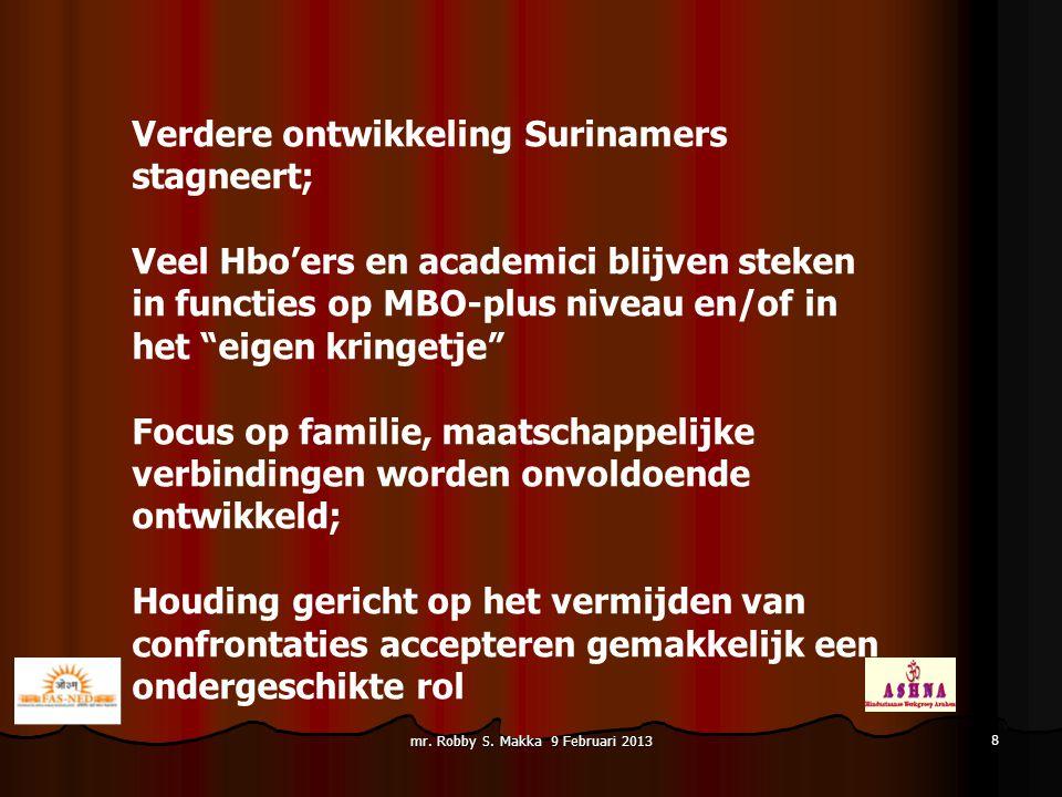"""Verdere ontwikkeling Surinamers stagneert; Veel Hbo'ers en academici blijven steken in functies op MBO-plus niveau en/of in het """"eigen kringetje"""" Focu"""