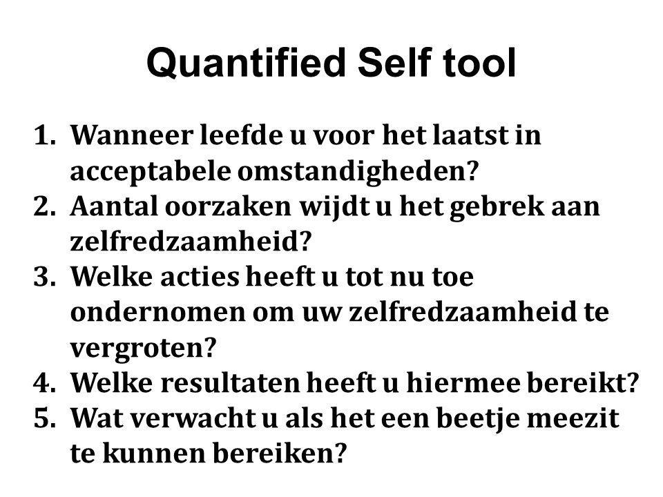 Quantified Self tool 1.Wanneer leefde u voor het laatst in acceptabele omstandigheden.