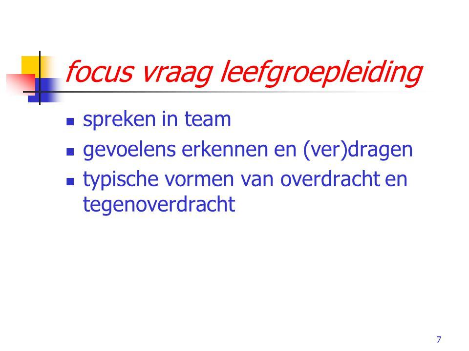 7 focus vraag leefgroepleiding spreken in team gevoelens erkennen en (ver)dragen typische vormen van overdracht en tegenoverdracht