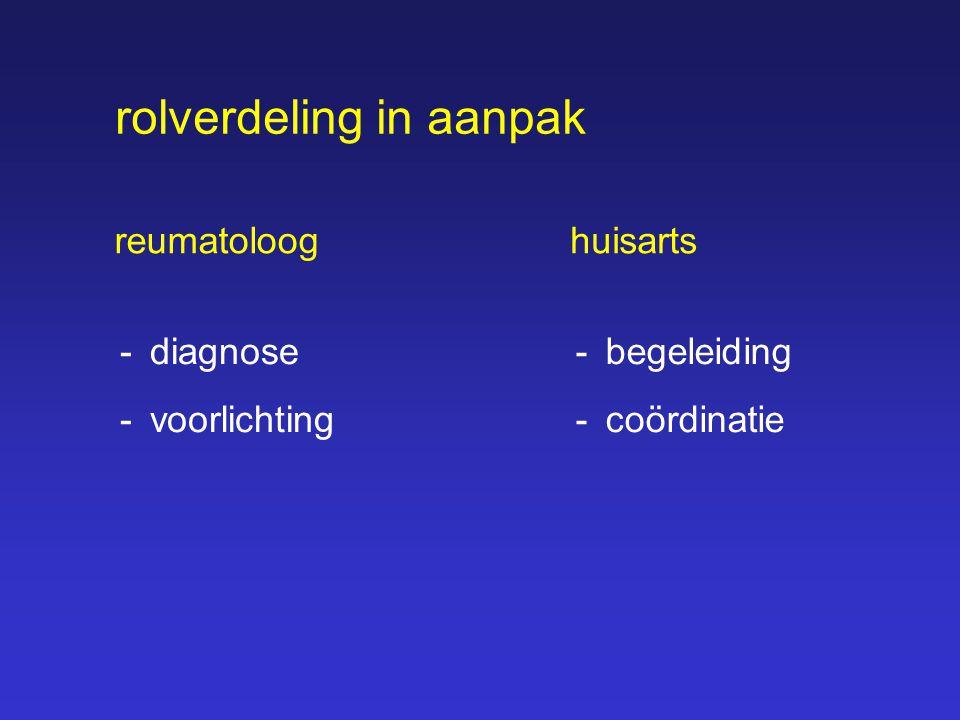 reumatoloog -diagnose -voorlichting huisarts -begeleiding -coördinatie rolverdeling in aanpak