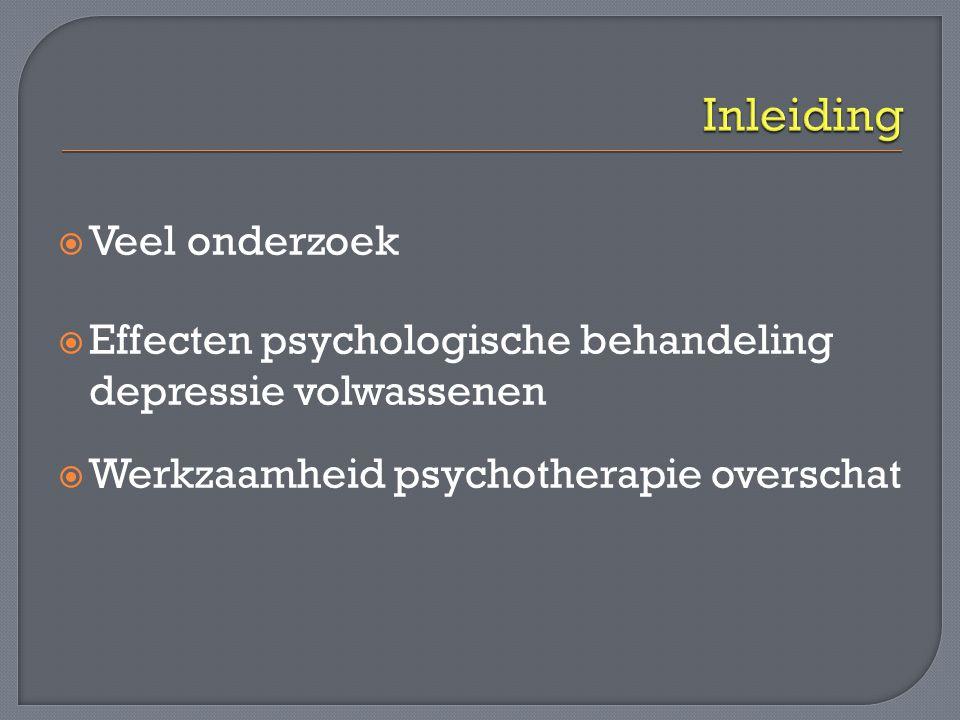  Effectief bij specifieke doelgroepen  Verschillende vormen Cognitieve gedragstherapie Interpersoonlijke psychotherapie Problem – solving therapie Gedragsactiverende therapie Kortdurende psychodynamische therapieën  Individueel - groep – zelfbegeleide hulp