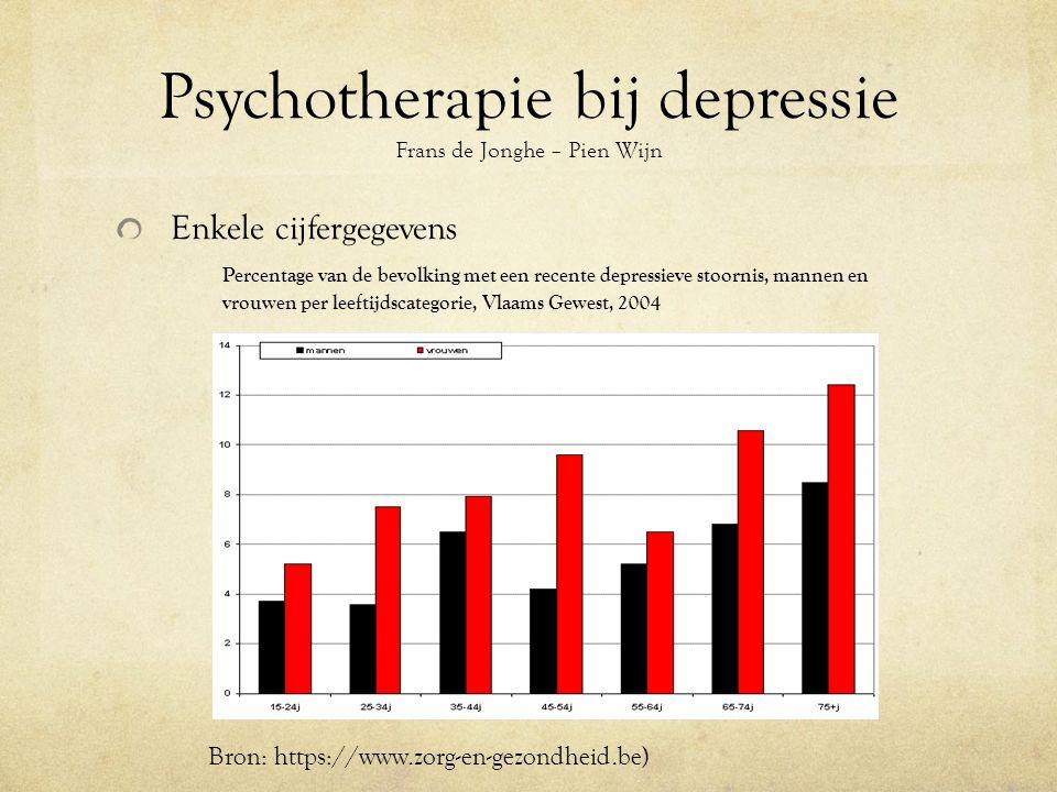 Psychotherapie bij depressie Frans de Jonghe – Pien Wijn Enkele cijfergegevens Percentage van de bevolking met een recente depressieve stoornis, mannen en vrouwen per leeftijdscategorie, Vlaams Gewest, 2004 Bron: https://www.zorg-en-gezondheid.be)