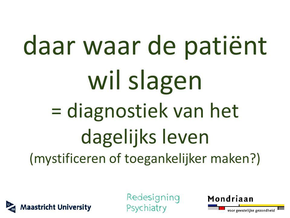 daar waar de patiënt wil slagen = diagnostiek van het dagelijks leven (mystificeren of toegankelijker maken?)