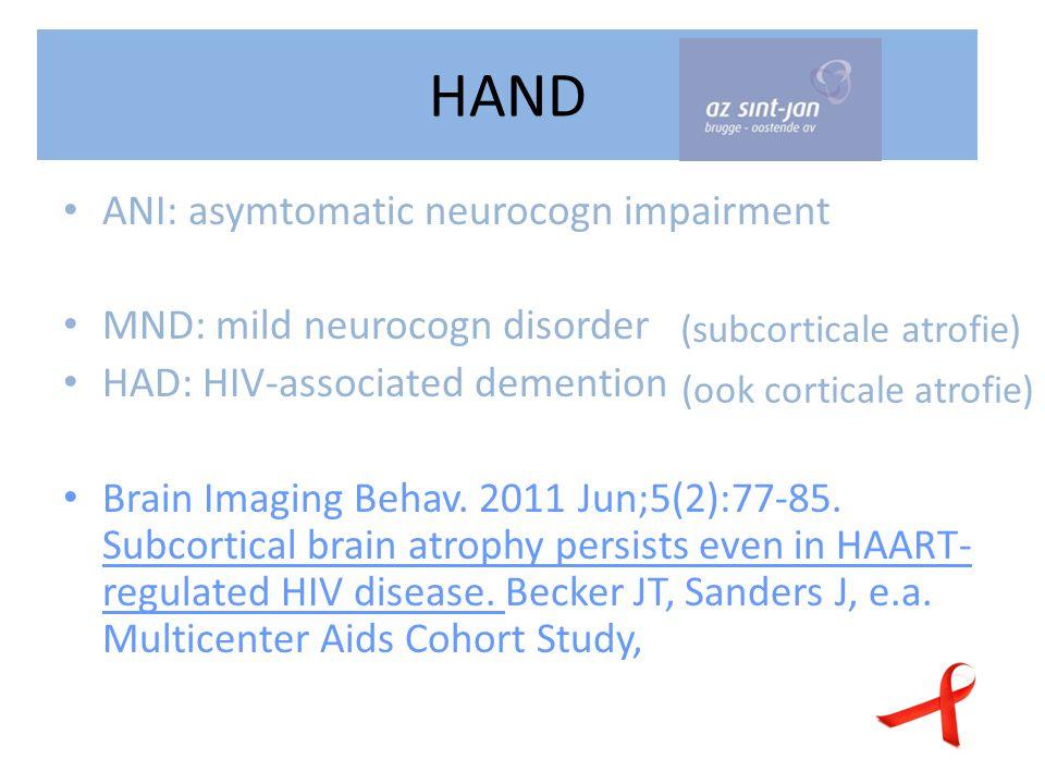 HAND ANI: asymtomatic neurocogn impairment MND: mild neurocogn disorder HAD: HIV-associated demention Brain Imaging Behav.