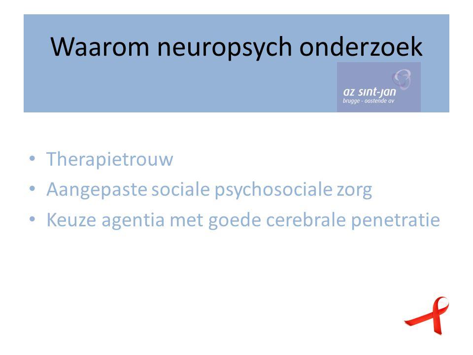 Waarom neuropsych onderzoek Therapietrouw Aangepaste sociale psychosociale zorg Keuze agentia met goede cerebrale penetratie