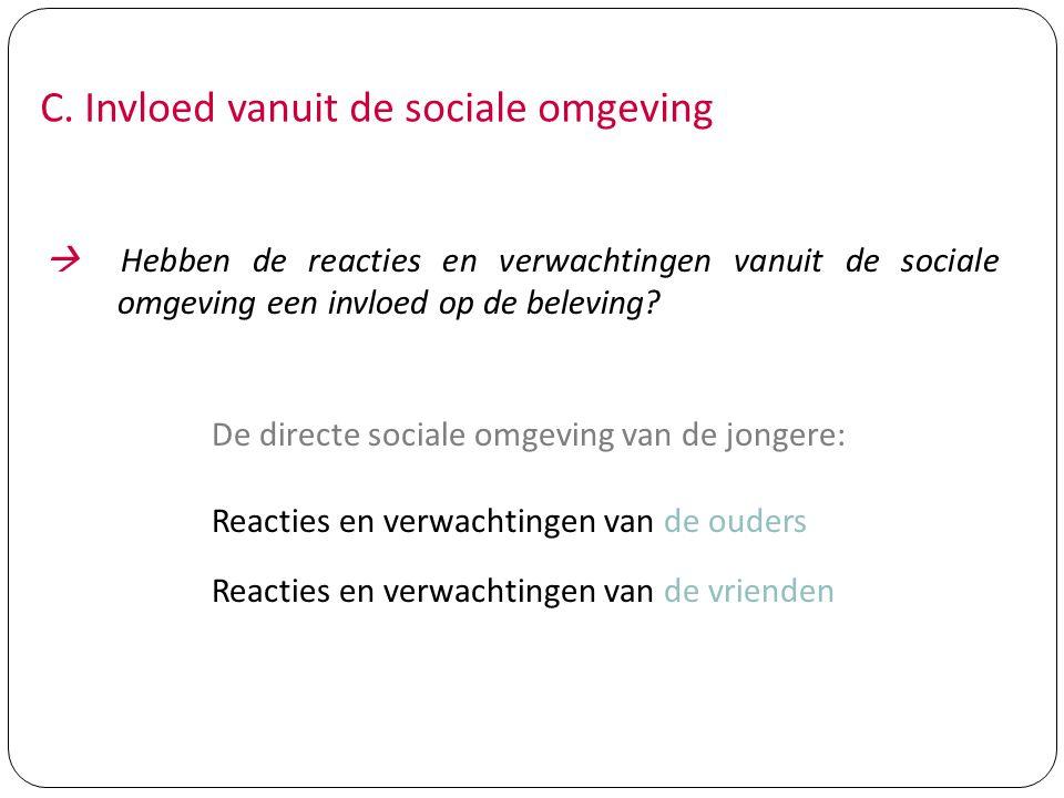 C. Invloed vanuit de sociale omgeving  Hebben de reacties en verwachtingen vanuit de sociale omgeving een invloed op de beleving? De directe sociale