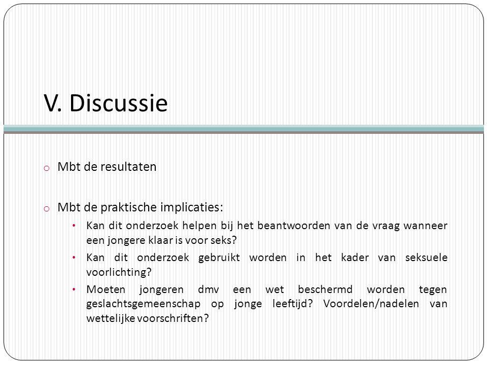 V. Discussie o Mbt de resultaten o Mbt de praktische implicaties: Kan dit onderzoek helpen bij het beantwoorden van de vraag wanneer een jongere klaar