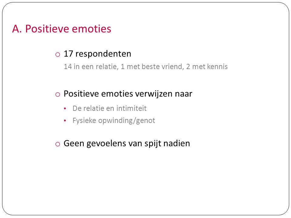 A. Positieve emoties o 17 respondenten 14 in een relatie, 1 met beste vriend, 2 met kennis o Positieve emoties verwijzen naar De relatie en intimiteit