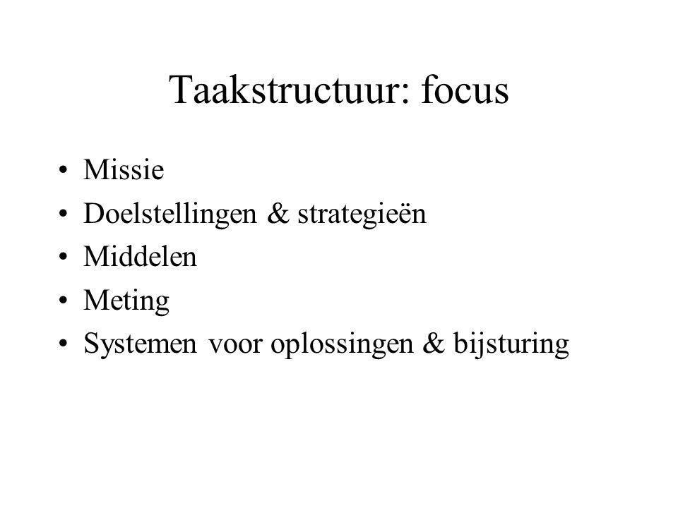 Taakstructuur: focus Missie Doelstellingen & strategieën Middelen Meting Systemen voor oplossingen & bijsturing
