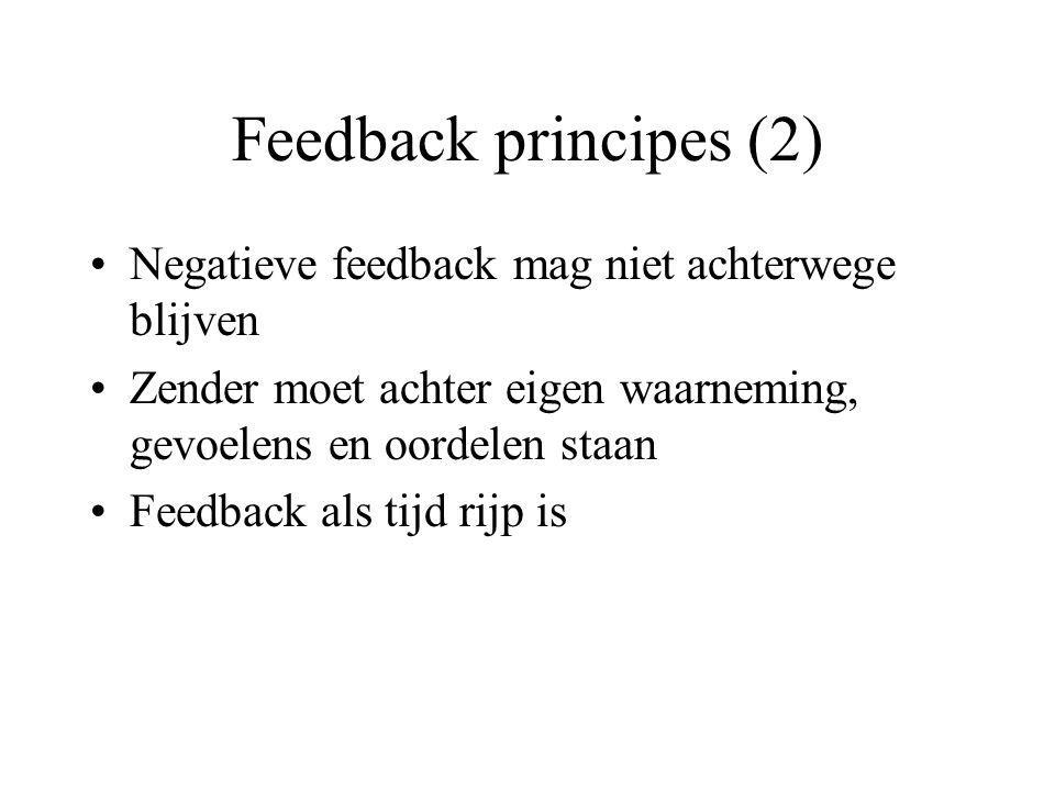 Negatieve feedback mag niet achterwege blijven Zender moet achter eigen waarneming, gevoelens en oordelen staan Feedback als tijd rijp is Feedback principes (2)