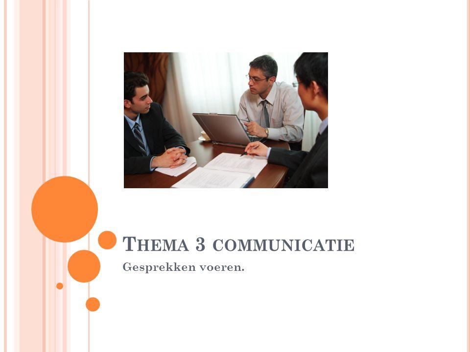 T HEMA 3 COMMUNICATIE Gesprekken voeren.