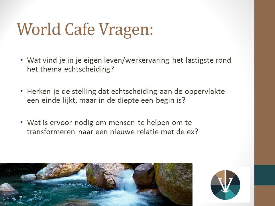 World Cafe Vragen: Wat vind je in je eigen leven/werkervaring het lastigste rond het thema echtscheiding? Herken je de stelling dat echtscheiding aan