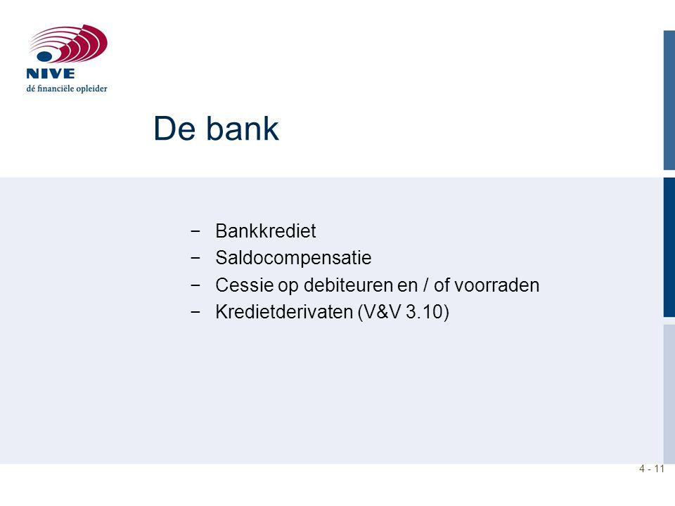 4 - 11 De bank −Bankkrediet −Saldocompensatie −Cessie op debiteuren en / of voorraden −Kredietderivaten (V&V 3.10)