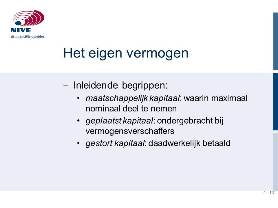 4 - 13 Het eigen vermogen −Inleidende begrippen: maatschappelijk kapitaal: waarin maximaal nominaal deel te nemen geplaatst kapitaal: ondergebracht bi