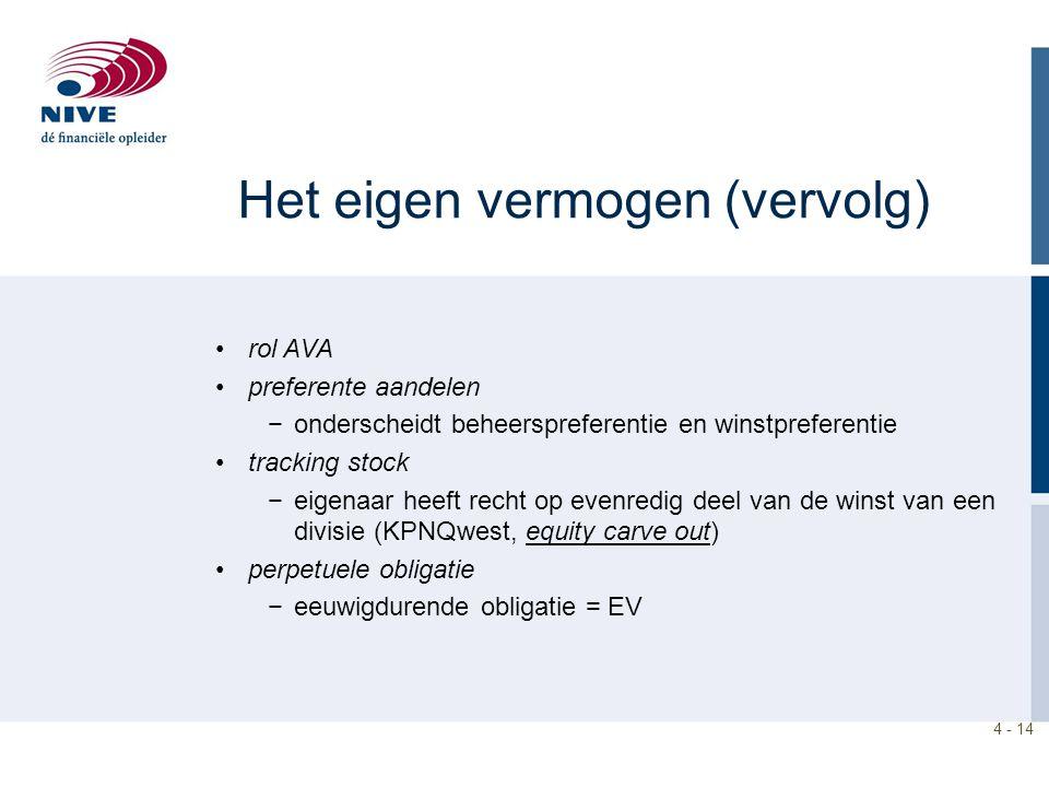 4 - 14 Het eigen vermogen (vervolg) rol AVA preferente aandelen −onderscheidt beheerspreferentie en winstpreferentie tracking stock −eigenaar heeft re