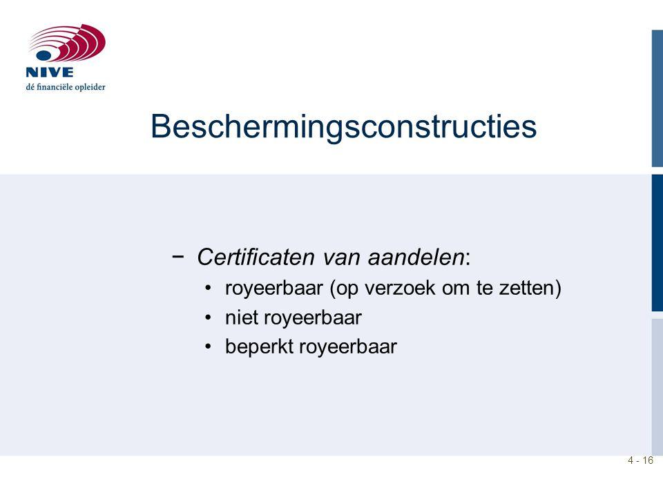4 - 16 Beschermingsconstructies −Certificaten van aandelen: royeerbaar (op verzoek om te zetten) niet royeerbaar beperkt royeerbaar