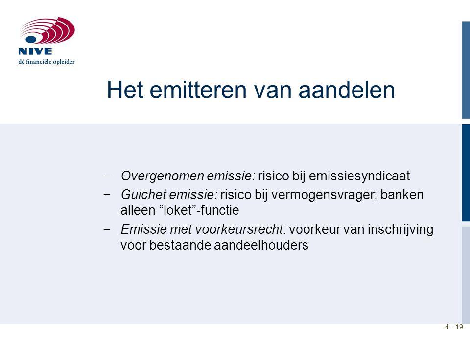 """4 - 19 Het emitteren van aandelen −Overgenomen emissie: risico bij emissiesyndicaat −Guichet emissie: risico bij vermogensvrager; banken alleen """"loket"""