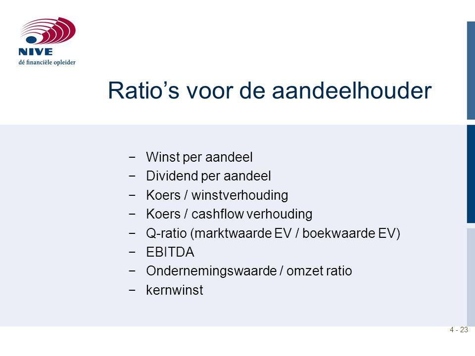 4 - 23 Ratio's voor de aandeelhouder −Winst per aandeel −Dividend per aandeel −Koers / winstverhouding −Koers / cashflow verhouding −Q-ratio (marktwaarde EV / boekwaarde EV) −EBITDA −Ondernemingswaarde / omzet ratio −kernwinst