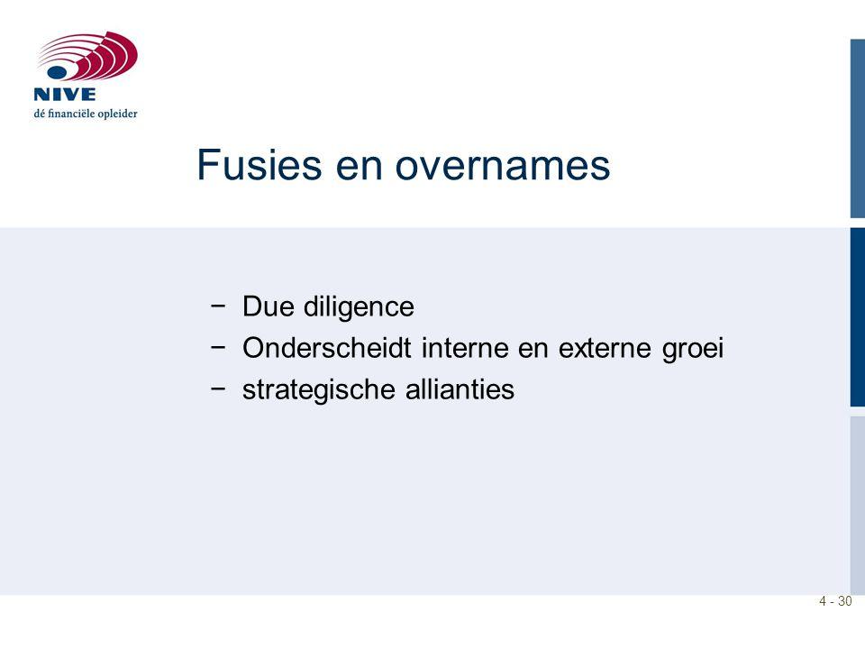 4 - 30 Fusies en overnames −Due diligence −Onderscheidt interne en externe groei −strategische allianties