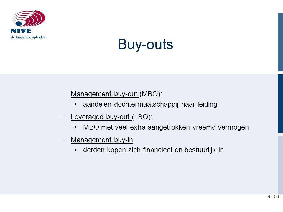 4 - 33 Buy-outs −Management buy-out (MBO): aandelen dochtermaatschappij naar leiding −Leveraged buy-out (LBO): MBO met veel extra aangetrokken vreemd vermogen −Management buy-in: derden kopen zich financieel en bestuurlijk in