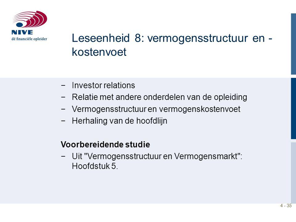 4 - 35 −Investor relations −Relatie met andere onderdelen van de opleiding −Vermogensstructuur en vermogenskostenvoet −Herhaling van de hoofdlijn Voor