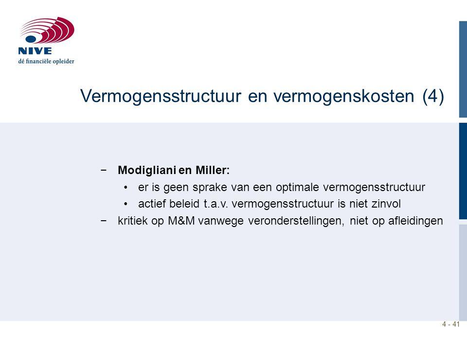 4 - 41 −Modigliani en Miller: er is geen sprake van een optimale vermogensstructuur actief beleid t.a.v. vermogensstructuur is niet zinvol −kritiek op