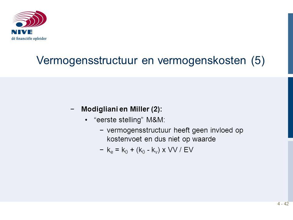 4 - 42 −Modigliani en Miller (2): eerste stelling M&M: −vermogensstructuur heeft geen invloed op kostenvoet en dus niet op waarde −k e = k 0 + (k 0 - k v ) x VV / EV Vermogensstructuur en vermogenskosten (5)