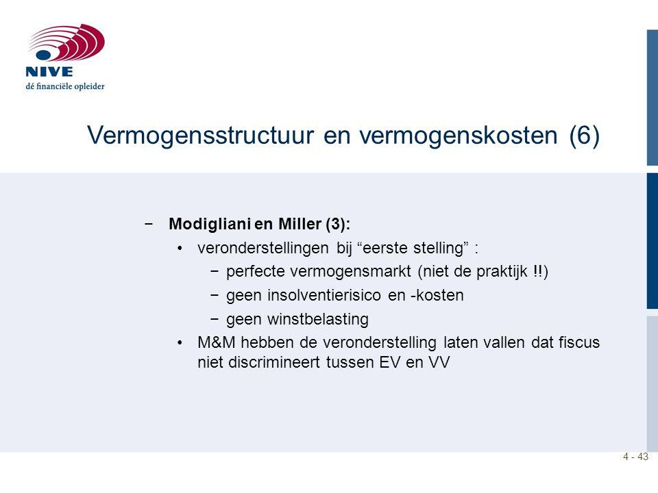 4 - 43 −Modigliani en Miller (3): veronderstellingen bij eerste stelling : −perfecte vermogensmarkt (niet de praktijk !!) −geen insolventierisico en -kosten −geen winstbelasting M&M hebben de veronderstelling laten vallen dat fiscus niet discrimineert tussen EV en VV Vermogensstructuur en vermogenskosten (6)