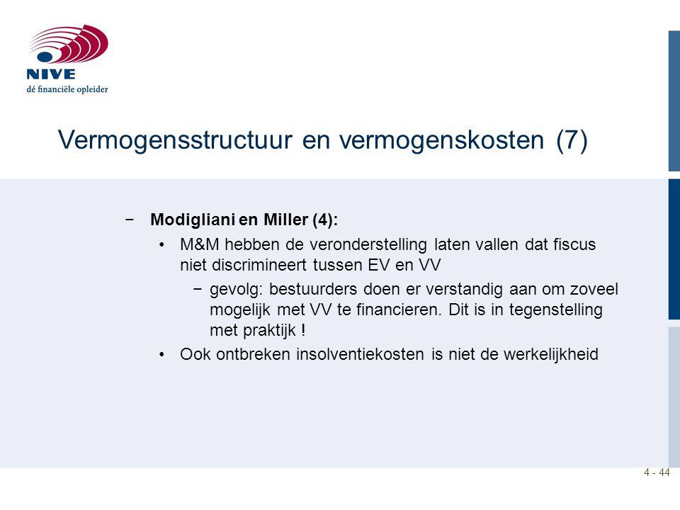 4 - 44 −Modigliani en Miller (4): M&M hebben de veronderstelling laten vallen dat fiscus niet discrimineert tussen EV en VV −gevolg: bestuurders doen er verstandig aan om zoveel mogelijk met VV te financieren.