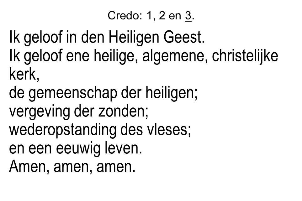 Credo: 1, 2 en 3. Ik geloof in den Heiligen Geest.
