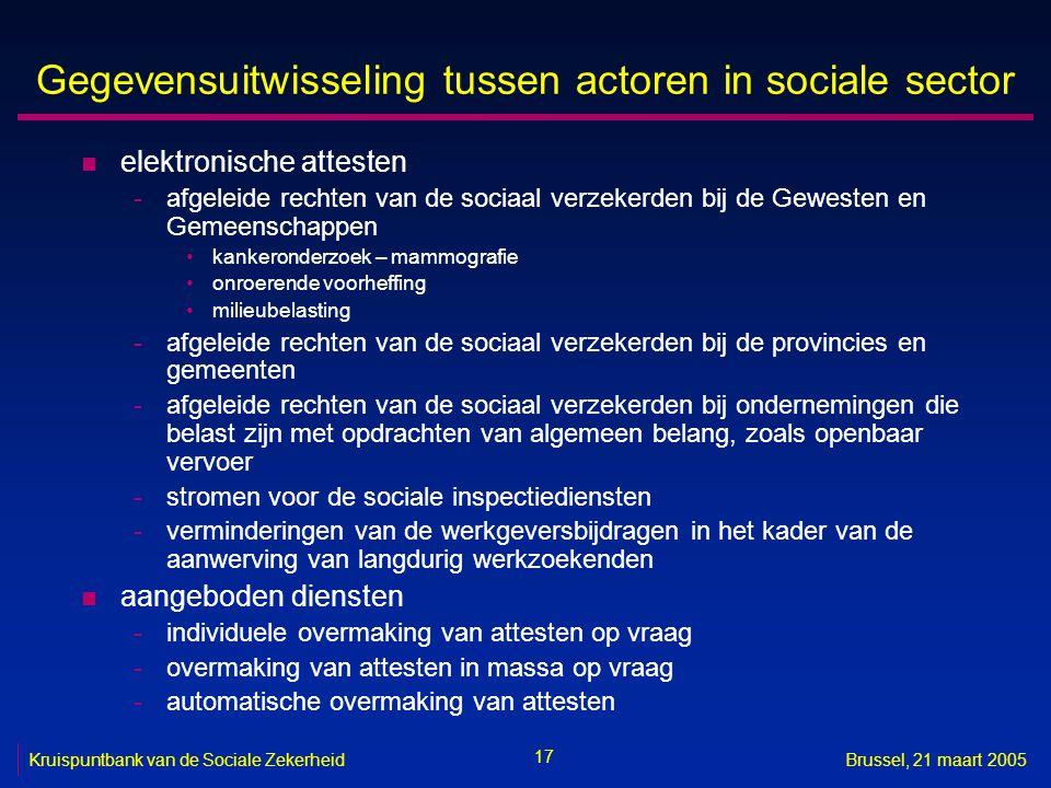 17 Kruispuntbank van de Sociale ZekerheidBrussel, 21 maart 2005 Gegevensuitwisseling tussen actoren in sociale sector n elektronische attesten -afgele