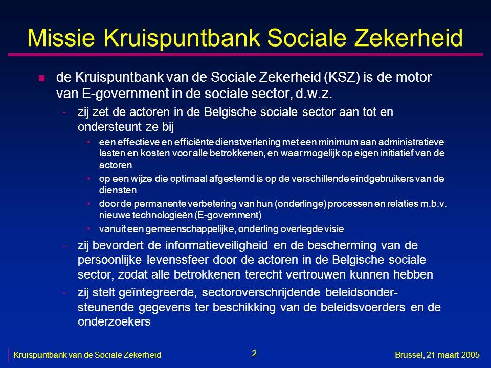 2 Brussel, 21 maart 2005 Missie Kruispuntbank Sociale Zekerheid n de Kruispuntbank van de Sociale Zekerheid (KSZ) is de motor van E-government in de s