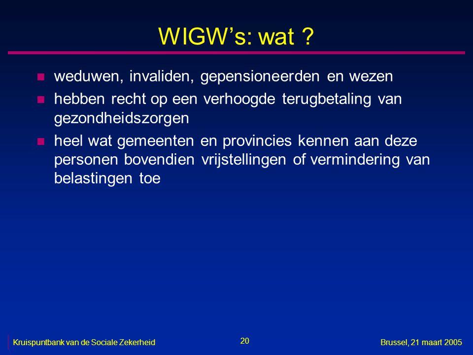 20 Kruispuntbank van de Sociale ZekerheidBrussel, 21 maart 2005 WIGW's: wat ? n weduwen, invaliden, gepensioneerden en wezen n hebben recht op een ver