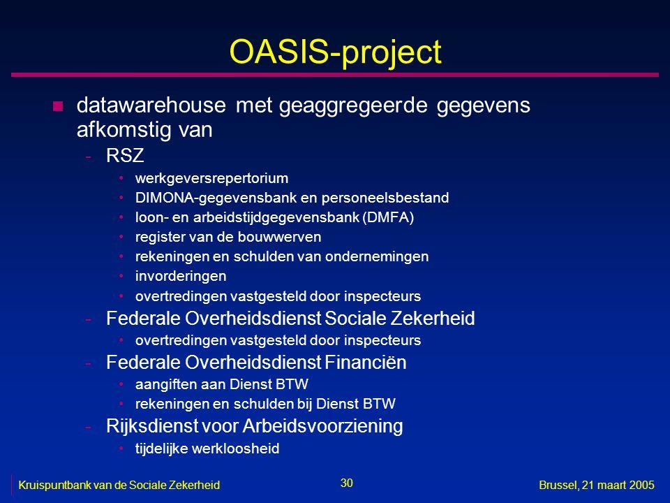 30 Kruispuntbank van de Sociale ZekerheidBrussel, 21 maart 2005 OASIS-project n datawarehouse met geaggregeerde gegevens afkomstig van -RSZ werkgevers