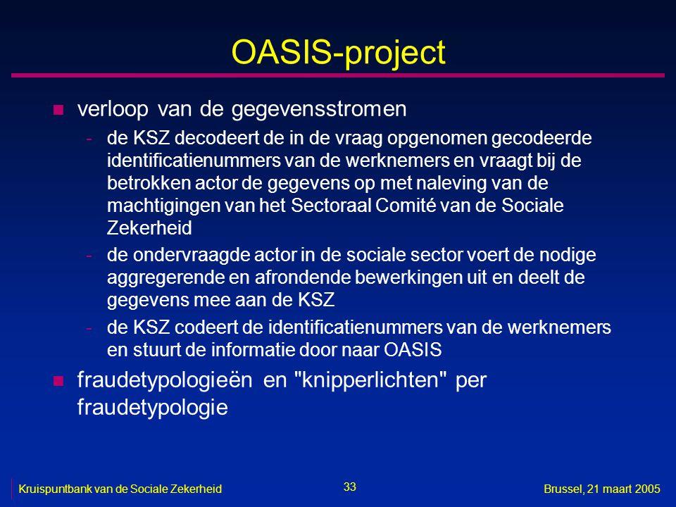 33 Kruispuntbank van de Sociale ZekerheidBrussel, 21 maart 2005 OASIS-project n verloop van de gegevensstromen -de KSZ decodeert de in de vraag opgeno