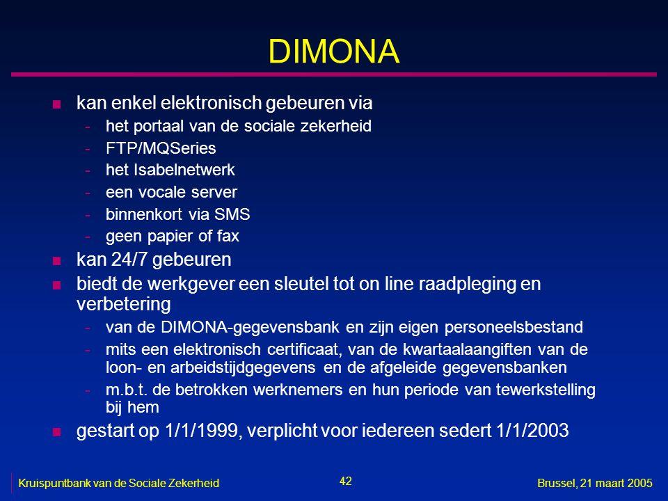 42 Kruispuntbank van de Sociale ZekerheidBrussel, 21 maart 2005 DIMONA n kan enkel elektronisch gebeuren via -het portaal van de sociale zekerheid -FT