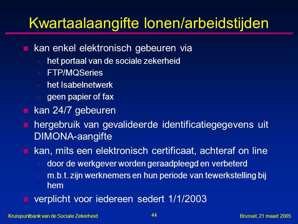44 Kruispuntbank van de Sociale ZekerheidBrussel, 21 maart 2005 Kwartaalaangifte lonen/arbeidstijden n kan enkel elektronisch gebeuren via -het portaa