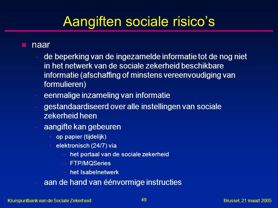 49 Kruispuntbank van de Sociale ZekerheidBrussel, 21 maart 2005 Aangiften sociale risico's n naar -de beperking van de ingezamelde informatie tot de n
