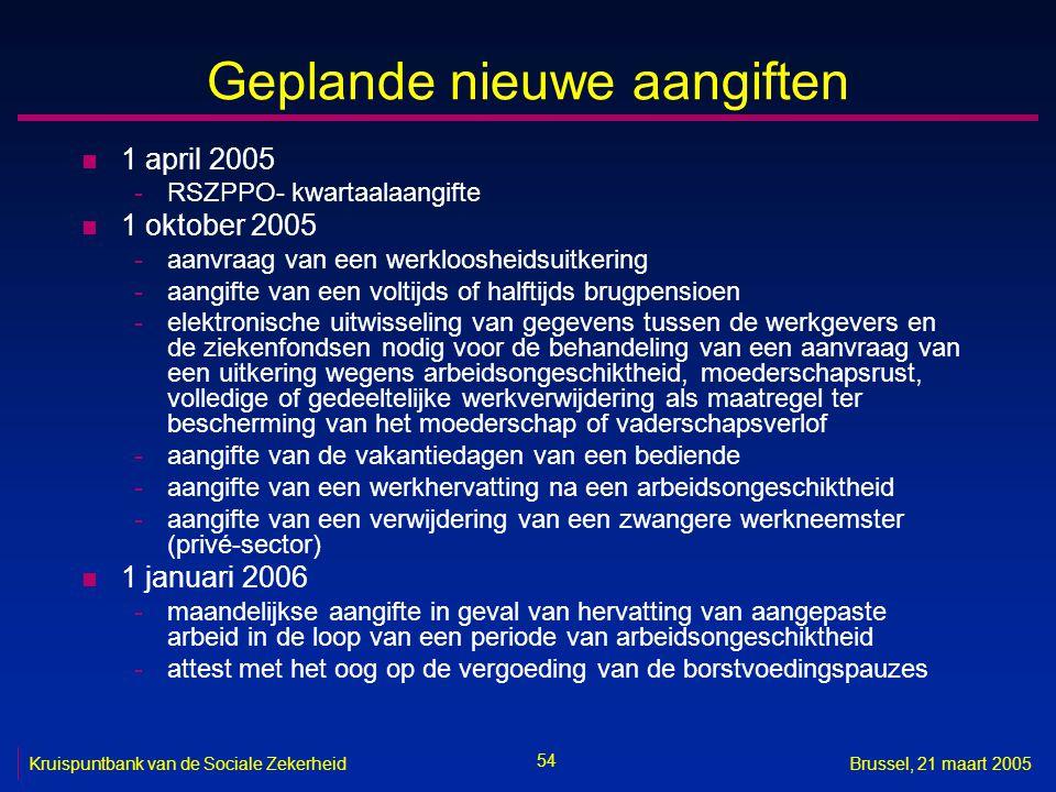 54 Kruispuntbank van de Sociale ZekerheidBrussel, 21 maart 2005 Geplande nieuwe aangiften n 1 april 2005 -RSZPPO- kwartaalaangifte n 1 oktober 2005 -a