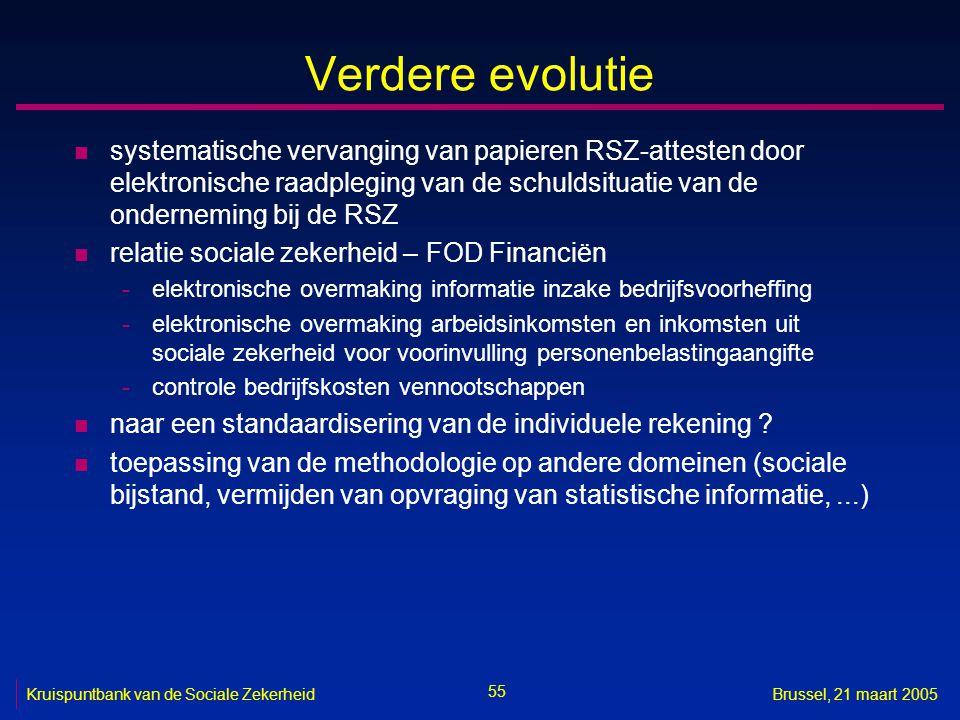 55 Kruispuntbank van de Sociale ZekerheidBrussel, 21 maart 2005 Verdere evolutie n systematische vervanging van papieren RSZ-attesten door elektronisc